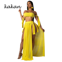 Kakan summer new womens dress three-piece sexy wrapped chest straps split with blouse beach