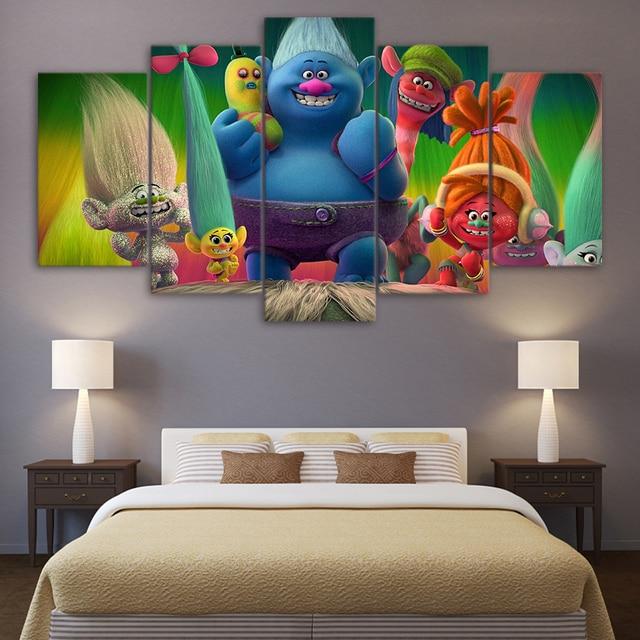 Remise 5 Pièce Toile Art Film Affiche Trolls Peinture Mur