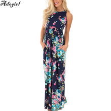 Adogirl summer dress 2017 новый женские повседневные цветочный печати популярные: без рукавов туника макси длинные элегантные платья с карманами