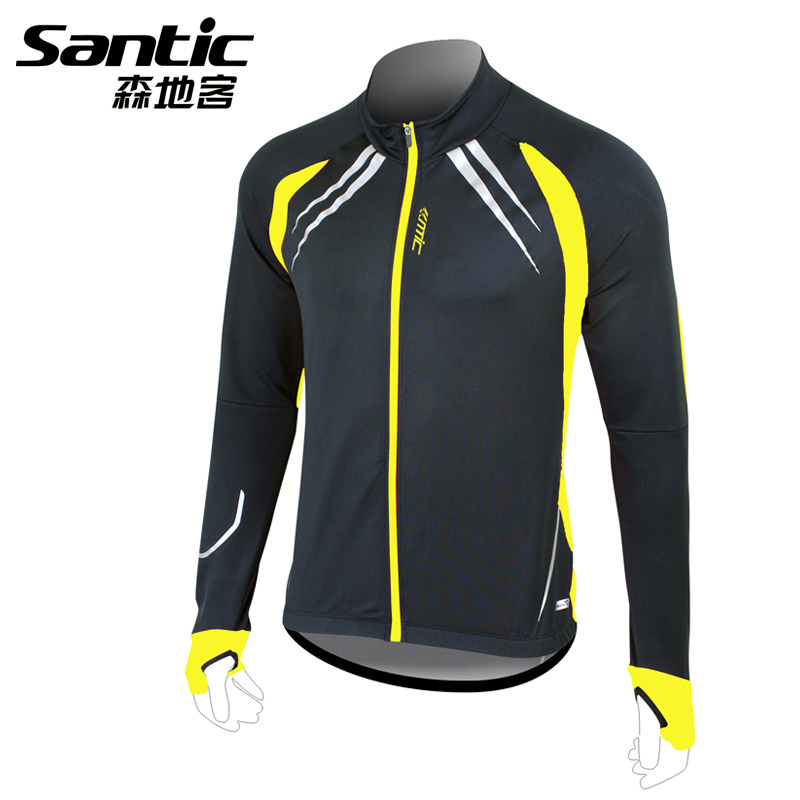 Santic Windproof Cycling Jacket Fleece Thermal Long Sleeve Sportswear Coat Winter Bike Bicycle Clothes Outdoor Bicycle Jersey santic cycling jersey kit long sleeve warm bicycle bike clothes outdoor sports quick dry seamless thermal underwear skinsuit