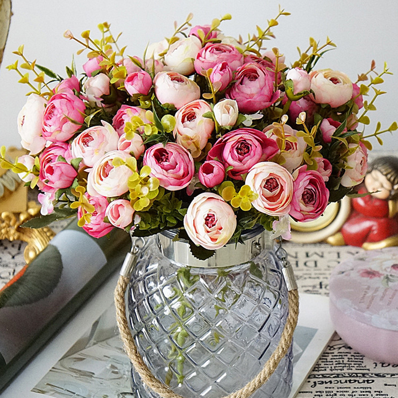 5 Fork 6 Heads Artificial Flowers Camellia Silk Home Hotel Table Vase Decorative Display Simulation Flower
