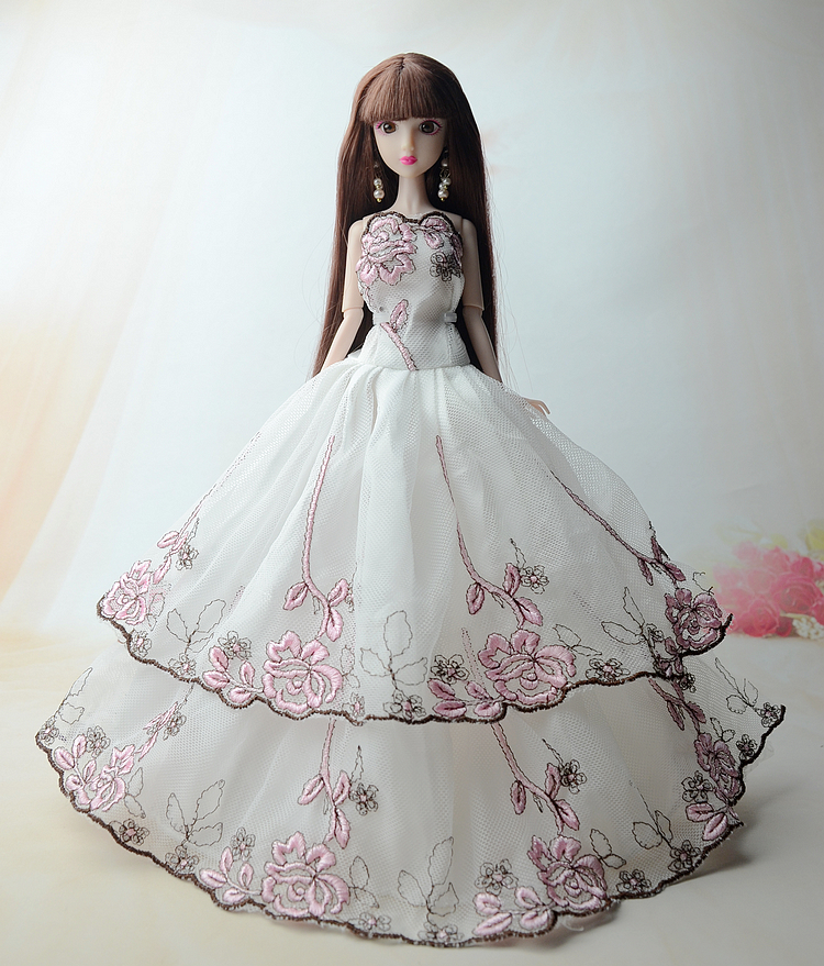NK One Pcs 2017 Princess Wedding Dress Noble Party Gown For Barbie Doll Fashion Design Outfit Best Gift For Girl' Doll 005H d0372 best girl gift 50cm kurhn princess doll with large wedding dress gift luxury dress set handemade romantic bride 06
