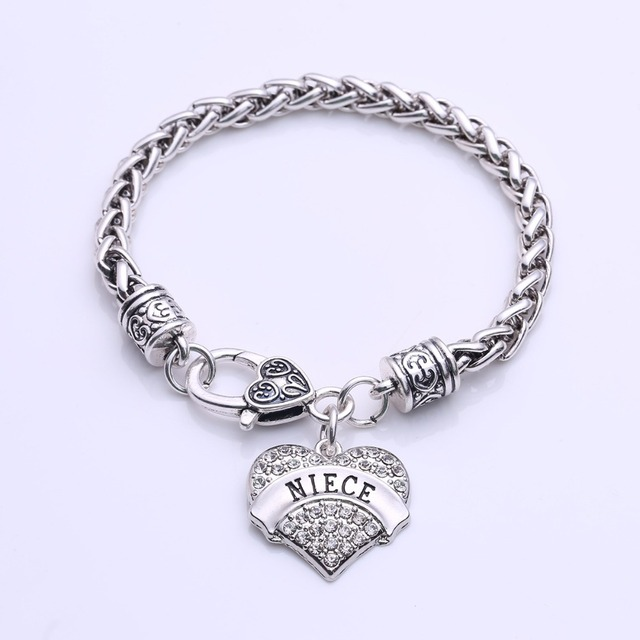 Mother S Day Gift For Niece Bracelet Engraved Lobster Claw Clear Crystal Pave Heart Charm