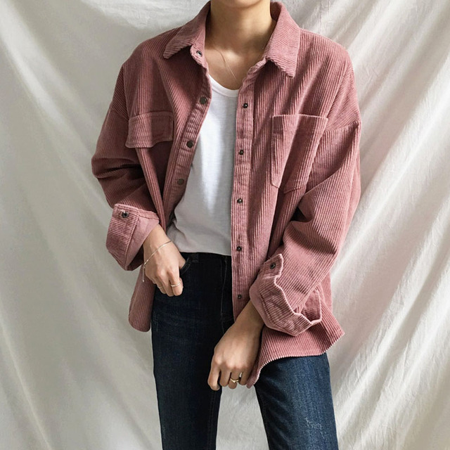 e63782a462188 Harajuku Corduroy Jackets Women Winter Autumn Coats Plus Size Overcoats  Female Big Tops Cute Jackets Solid Color Clothing Red