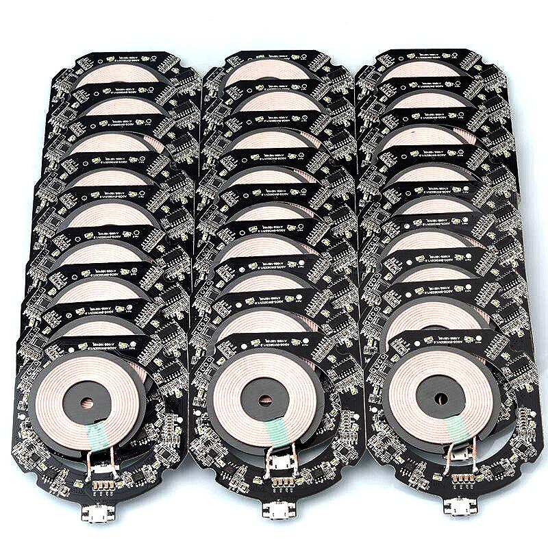 10 Qi Sem Fio W 7.5 W PCBA PCBA Placa de Circuito DIY Bobina Módulo Transmissor Carregador de Bateria para iPhone-X 8 Plus para Samsung S9 S8