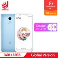 5.99 FHD Global Version Xiaomi Redmi 5 Plus 3GB RAM 32GB ROM Snapdragon 625 Octa Core 4G TD LTE Smartphone 12MP fingerprint