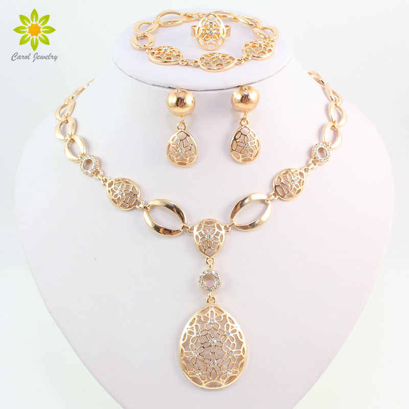 Fashion Vintage Clear Crystal Gold Color African Bridal Costume Jewelry Sets Nigerian Wedding Water Drop Necklace Earrings Set