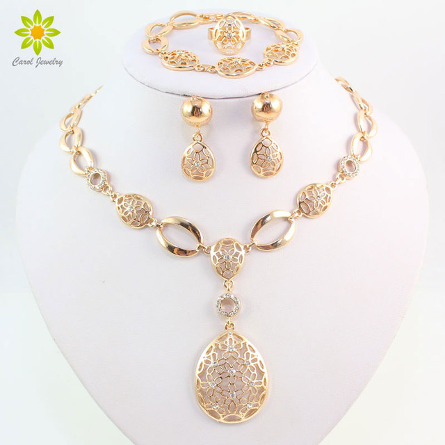 Fashion Vintage Clear Crystal Gold Color African Bridal Costume Jewelry Sets Nig