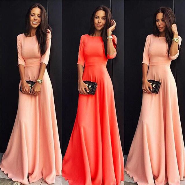 2018 Summer Sexy Elegant Women Half Sleeve Slim Empire O-neck Vestido Evening Formal Party Prom Long Maxi Dress Plus Size S-2XL 16