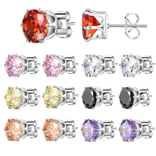 SUKI AAA Cubic Zirconia Stud Earrings Set 7 Pair/Set Week Use 316l Stainless Steel Round Gift for Women Girls Jewelry