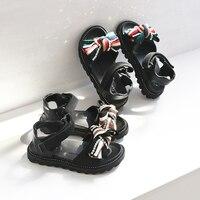 Fashion Princess Children Sandals Summer Girls Kids leather Shoes For Girl Little Kids Cloth Bow Beach Children Shoes Girl