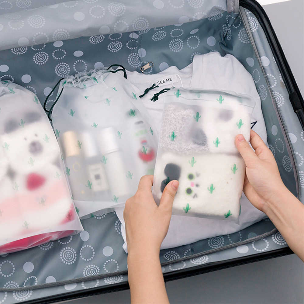 Transparent Frosted Waterproof Travel Bag Underwear Socks Clothes Storage Bag Organizer Cactus Makeup Case For Women Pouch