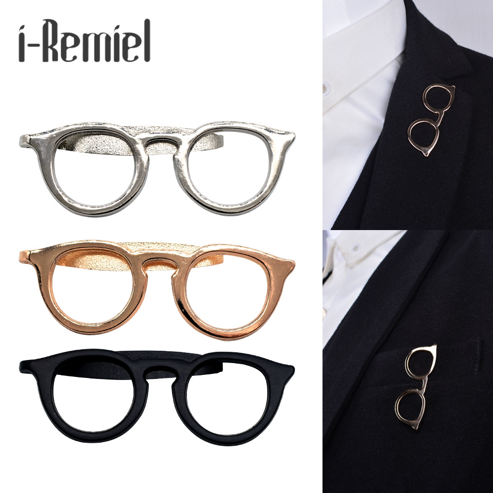 2017 Top Fashion Real Zinc Alloy Brooch Trendy Brooches For Pin Broche s Shirt Suit Tie Clip Simple Business Dress Up Glasses