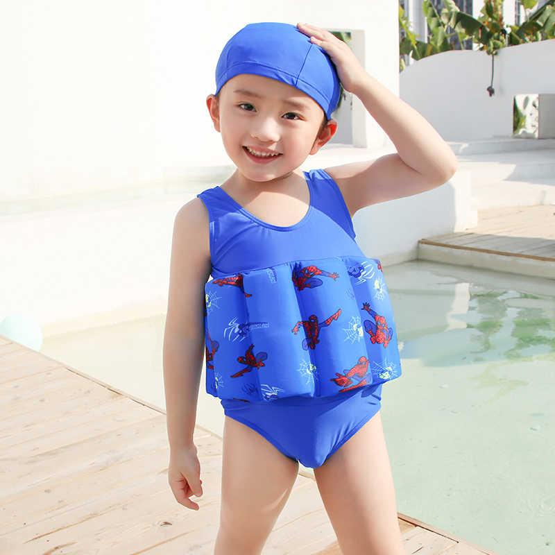 Для маленьких девочек и мальчиков цельный купальный костюм-поплавок Спасательный Жилет Безопасный защитный Регулируемый плавучести с плавающей Детские купальники с Кепки/головной убор