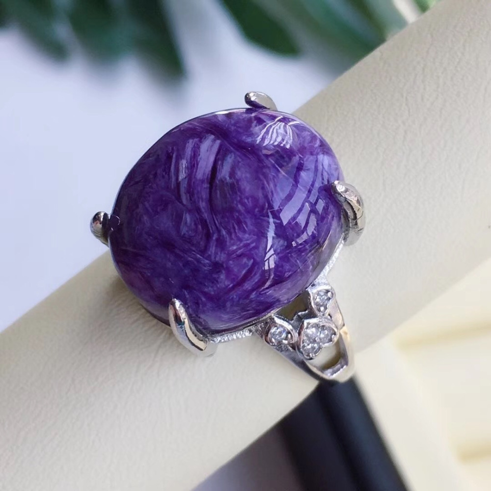 Natural Purple Charoite Ring Stone Crystal Women Men Lucky Love Gift Jewelry 925 Silver 16x14mm Oval Beads Adjustable Ring AAAAA