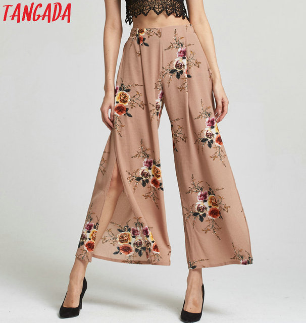 324dff29ae Tangada Sexy side split wide leg pants women Boho summer beach long pants  Elastic high waist causual pants 2017 L5