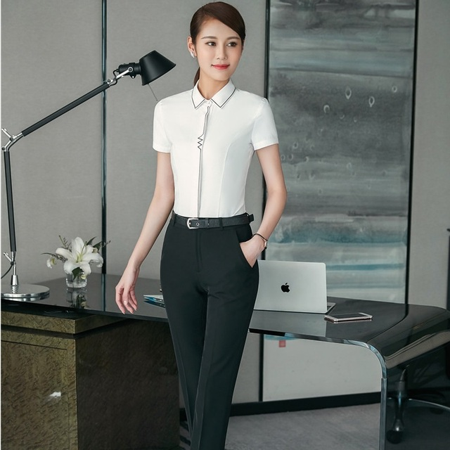 Novelty White Formal Uniforms Professional Pantsuits With Tops And ...