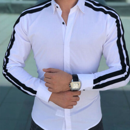 Fashion Men Shirts Business Shirt Long Sleeve Slim Fit Tops 2019 White Red Black Smart Male Social Dress Shirt Plus