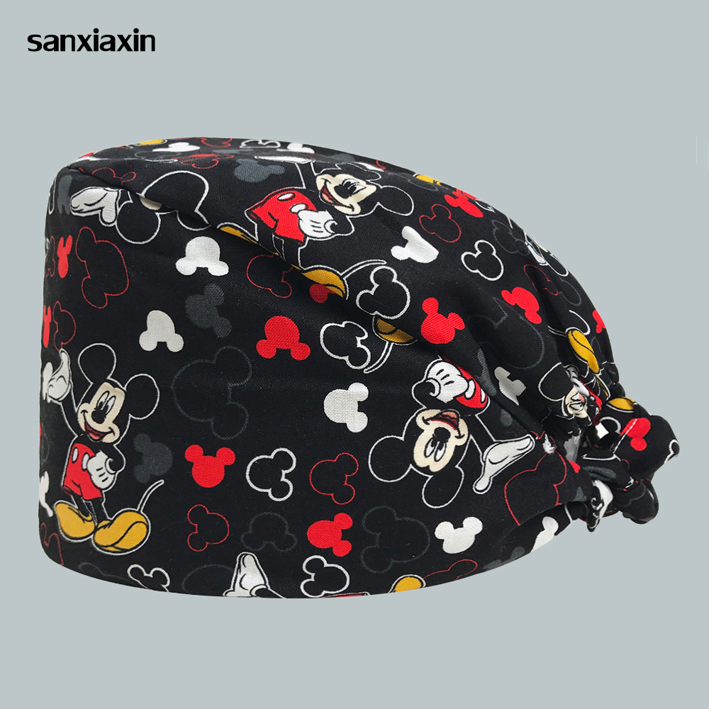 Adjustable Mickey Print Medical Scrub Cap Dentist Clinic Work Hats Unisex Breathable Ultra Soft Surgical Caps Nursing Scrubs Cap