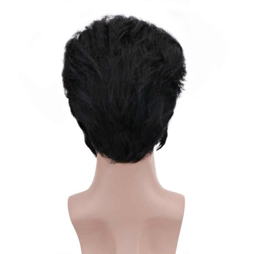 12'' Short Black Kinky Straigt Synthetic Elvis Presley The Hillbilly Cat King Cosplay Afro Wigs for Men Party Costume Halloween