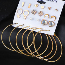 ФОТО fashion crystal stud earrings set for women charm heart triangle star moon big round circle earring brincos female jewelry new