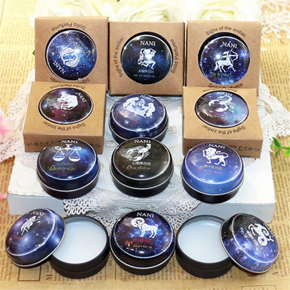 High Quality 12 Signs Constellation Zodiac Magic Solid Deodorant Solid Fragrance Magic Balm For Women Men