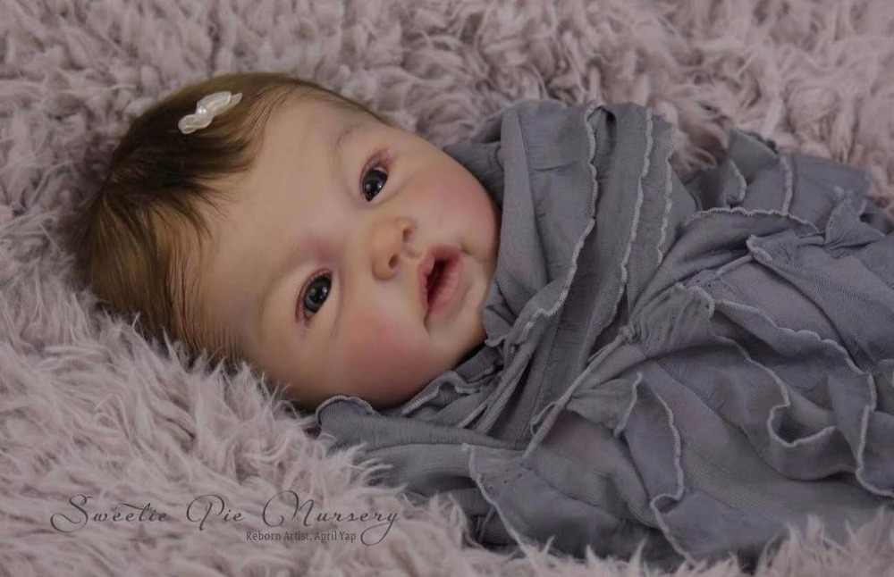 Reborn doll kit Adeline door Ping Lau limited edidtion levensechte zachte siliconen vinyl real gentle touch unpainted pop onderdelen