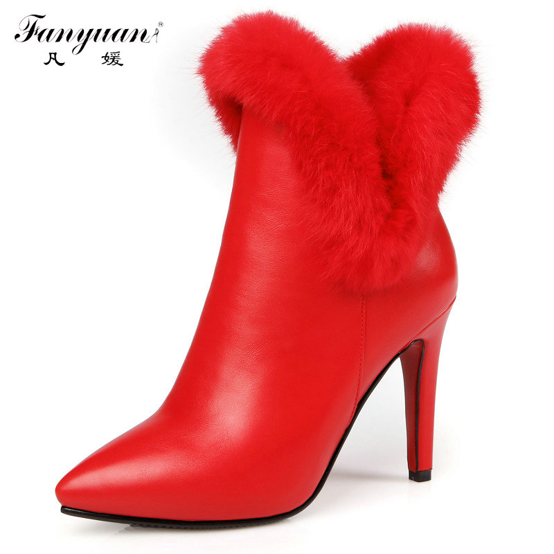 ФОТО 2016 Pointed Toe Stiletto Heels Ankle Boots Brand Designer Sexy High Heels Rabbit Fur Wedding Boots Autumn Winter Ladies Shoe