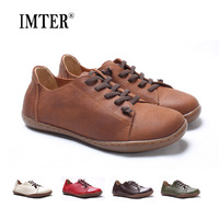 Hand Made Women Shoes Flat 100 Authentic Leather Round Toe Lace Up Ladies Shoes Flats Woman