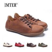 (35-42) Женская обувь без каблука 100% Authentic Leather Plain Toe Кружево на шнуровке Дамская обувь Туфли без каблуков женские мокасины женская обувь (5188-6)