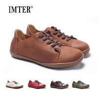 (35-46)Women Shoes Flat 100% Authentic Leather Plain toe Lace up Ladies Shoes Flats Woman Moccasins Female Footwear (5188-6)