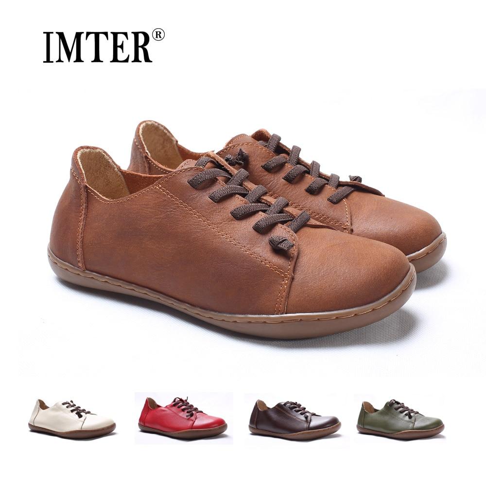 (35-46) zapatos planos de mujer 100% de cuero auténtico de Punta lisa con cordones zapatos planos de mujer mocasines calzado femenino (5188-6)