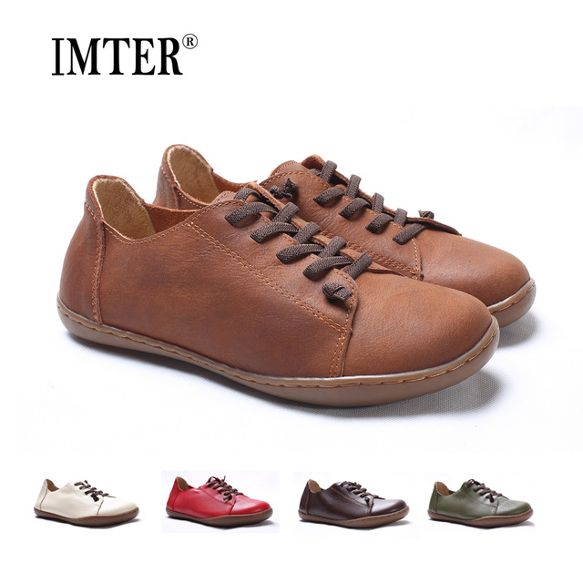 Women Shoes Flat 100% Authentic Leather Plain toe Lace up Ladies Shoes Flats Woman Moccasins Female Footwear