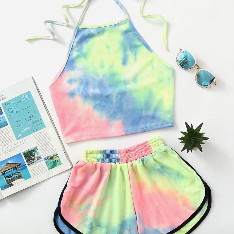 Verão feminino conjuntos de biquínis férias praia doce impresso 2 peças conjunto de roupa de banho venda quente meninas moda colorido halter biquinis #15