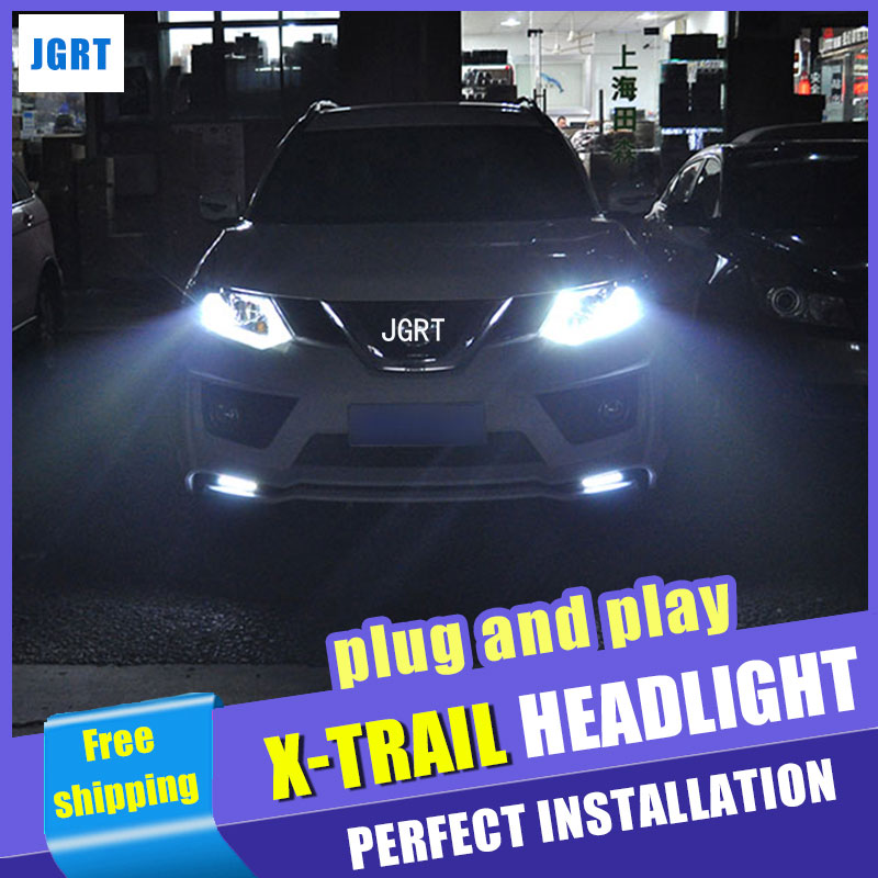 Car Styling Headlight assembly 2014-2015 for Nissan X-Trail DoubleU Angel Eye LED DRL Lens Double Beam H7 H7 hid kit with 2pcs hireno headlamp for 2003 2009 toyota land cruiser prado headlight assembly led drl angel lens double beam hid xenon 2pcs