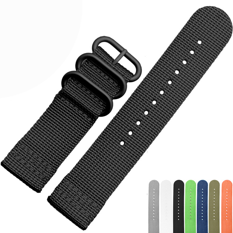 High Quality 6 Colors Nato Watchband 18mm 20mm 22mm 24mm Nylon Waterproof Watch Band Strap Sport Bracelet Stainless Steel Buckle new high quality watchband 24mm nato multicolor 4 ring nylon military diver s watch strap