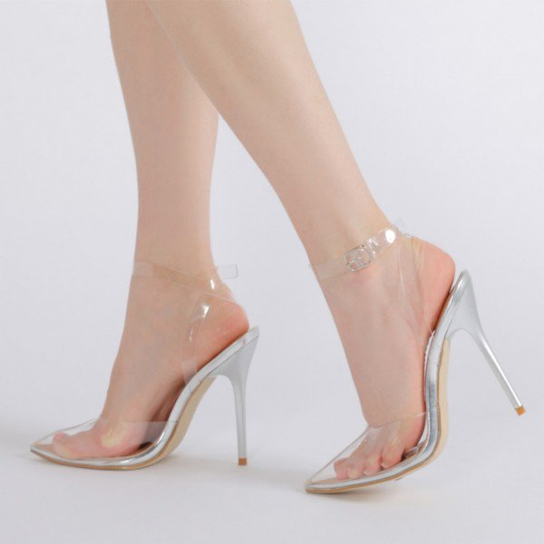 Women Silver Transparent Clear Stiletto Thin Heels Closed