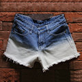 Denim Shorts Women Sexy Pole Dance Mini Shorts Ripped Jean Shorts Femme Blue White Color Block