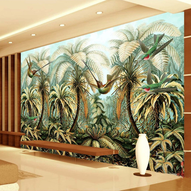Custom Mural Wallpaper Non Woven Large Hand Painted Wall Painting Tropical Rainforest Birds Living Room