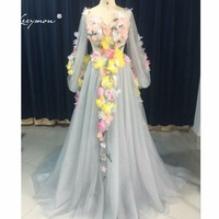 Leeymon Long Sleeves V Neck Flower Fairy Celebrity Dress Princess Grey Evening Dress Sheer Back LY7226