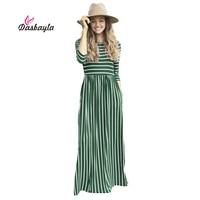 Dasbayla Women Tunic Maxi Dress 3 4 Sleeve Pocket Striped Office Long Dresses Empire Ladies 2017