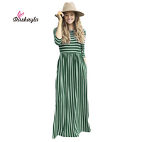 Dasbayla Women Tunic Maxi Dress 3 4 Sleeve Pocket Striped Office Long Dresses Empire Ladies 2017