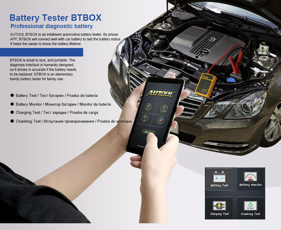 Android AUTOOL BT BOX Car Diagnostic Battery System Tester Analyzer for iOS
