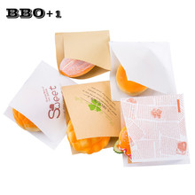100pcs Trigonometric Kraft Sandwich Paper Bag for Baking Package Oil Proof Bread Craft Bakery Food Packing Donuts Packaging Bags