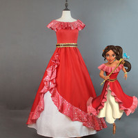 Selling Elena Of Avalor Princess Elena Cosplay Costume Red Embroidery Elena Dress Halloween Costumes For Adult