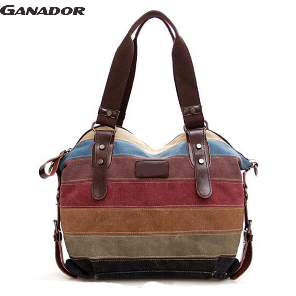 Prix pour Ganador livraison gratuite femmes sacs à main femmes messenger sacs rayures toile sac à main dames sac bandoulière sac à bandoulière bolsas LS6879