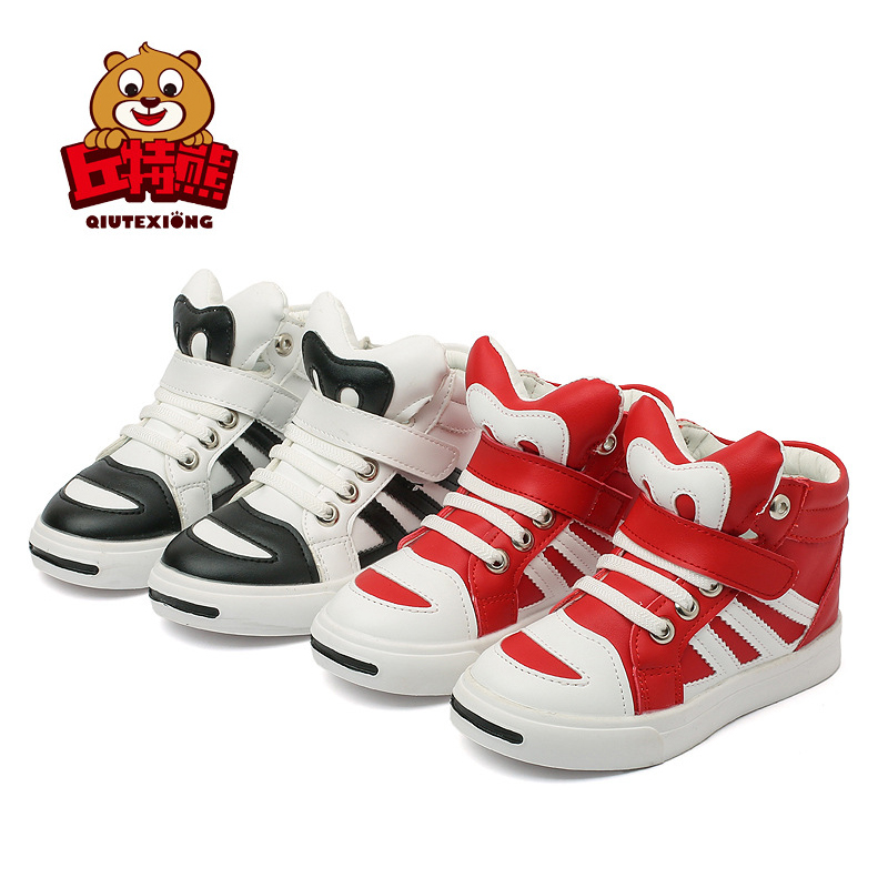 Pink Red Shoes Striped Sneakers Boys Breathable Leather High Heel Shoes School Sneakers kinder schuhe kinderschoenen