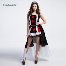 Halloween Poker Red Heart Queen Costumes Carnival Party Game Adult Womens  Costume Dress Headwear+Skirt+Gloves