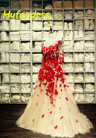 Maxi Dress 2017 Women Evening Dresses Long Elegant Red Applique Hand Made Flower Sheer Back Floor