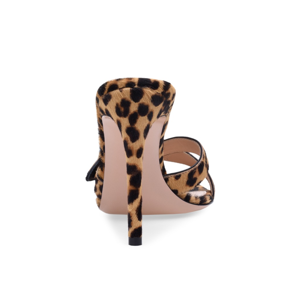 Pointed Open Toe High Heel Mules Women Leopard Heeled Sandals Sexy